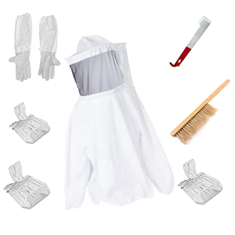 Gran oferta, chaqueta y guantes para apicultura, juego de herramientas para apicultura, cepillo para colmena y gancho J y receptor de abejas Queen