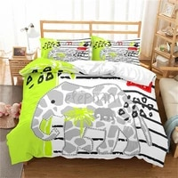 cute cartoon elephant pattern bedding set 3d printed down quilt cover pillowcase 3 bedroom decorative home textile