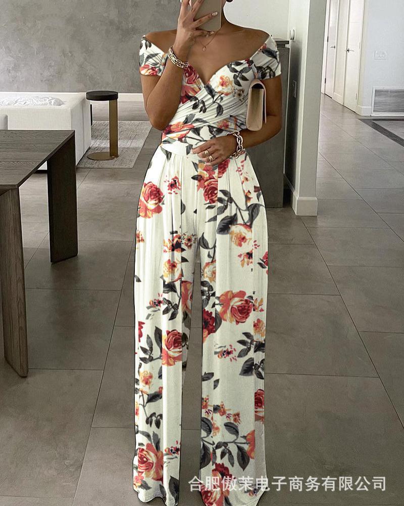 Jumpsuit Women Print Fashion High Waist Elegant Loose Summer Large Size Off The Shoulder Nlusas Long Pants Mujer De Moda Suit