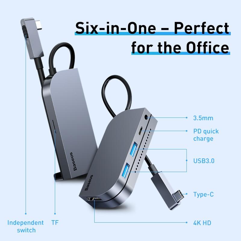 Baseus USB C HUB Type C HUB to HDMI-compatible USB 3.0 PD Port  Mobile Phone USB-C USB HUB Adapter For MacBook Pro For iPad Pro