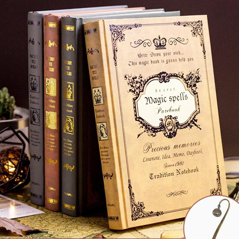 Cuaderno mágico grueso retro europeo A5 creativo, libro diario grueso, regalos clásicos para estudiantes