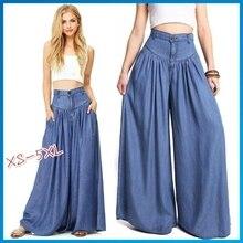 Fashion Plus Size Women High Waist Jeans Wide Leg Summer Ladies Loose Casual Blue Denim Broad Leg Pa