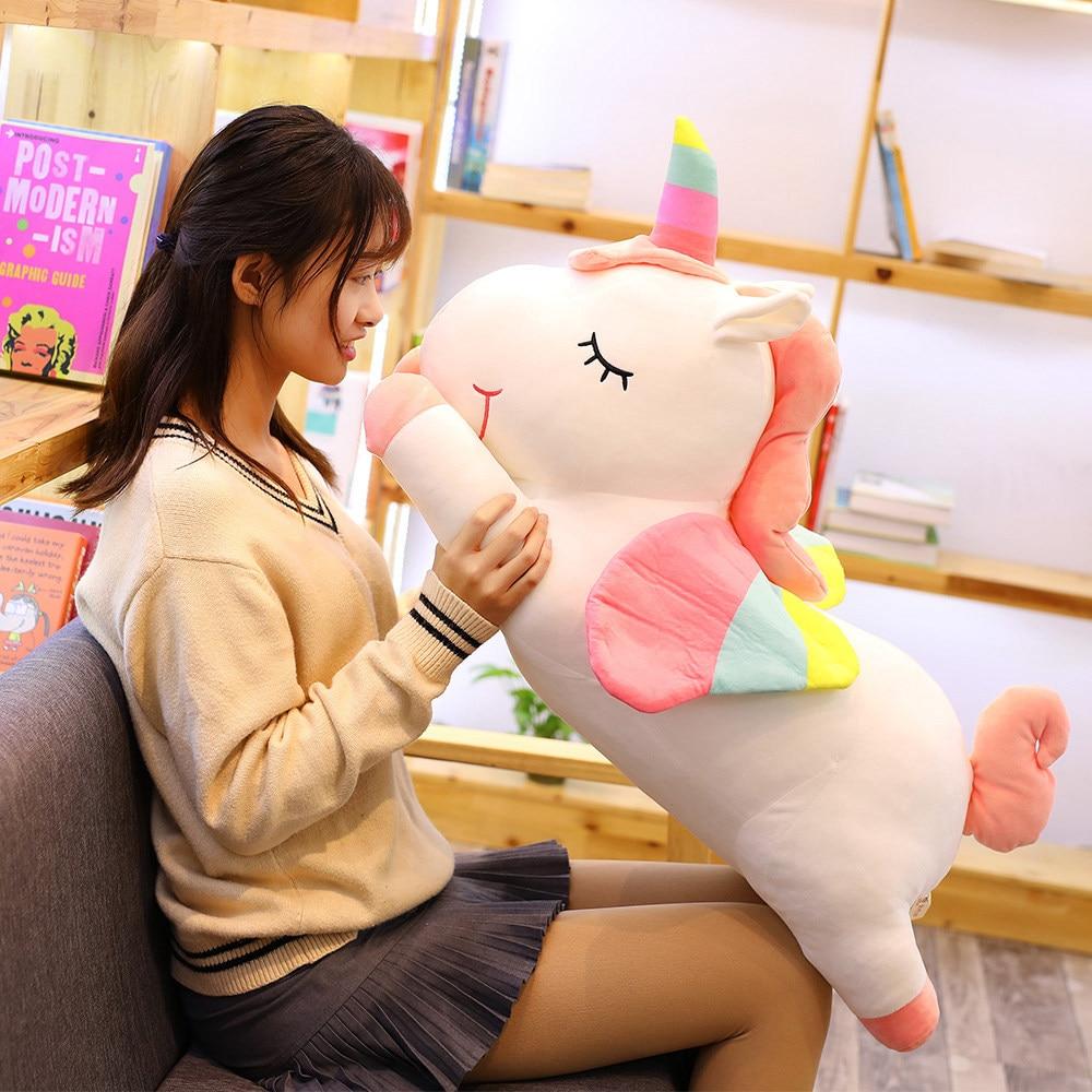 Pusheen, unicornios de juguete de felpa grandes, peluche suave, unicornio con alas, almohada suave, regalo de cumpleaños para chica, Licorne