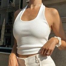 Sexy Halter Suspender Vest Women's Tight-fitting Beautiful Back Black Knit White Ins Bare Belly Bott