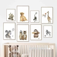 lion orangutan zebra giraffe tiger animal sport wall art canvas painting nordic posters and prints wall pictures kids room decor
