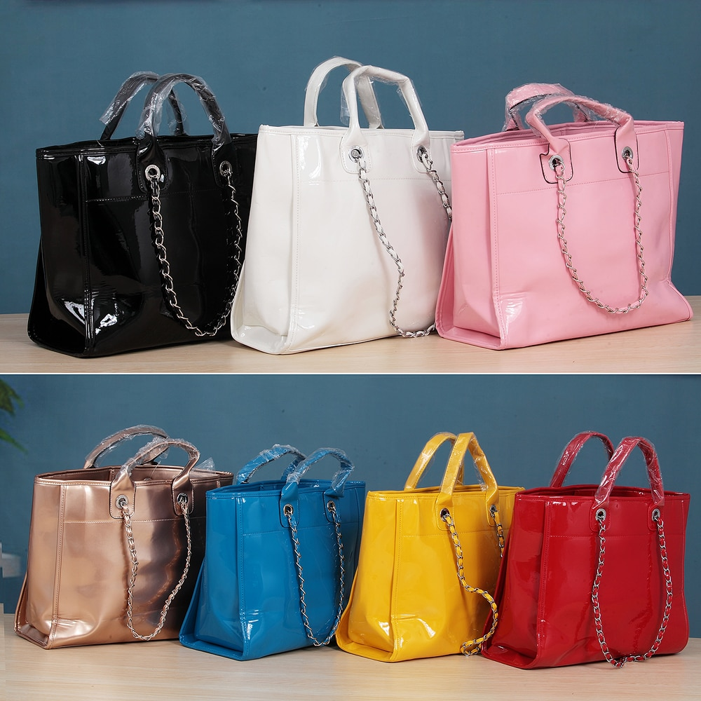 With Logo Autumn and Winter  Bags for Women Fashion PU Bright leather One-Shoulder Portable Chain Bag Large-Capacity Solid Color