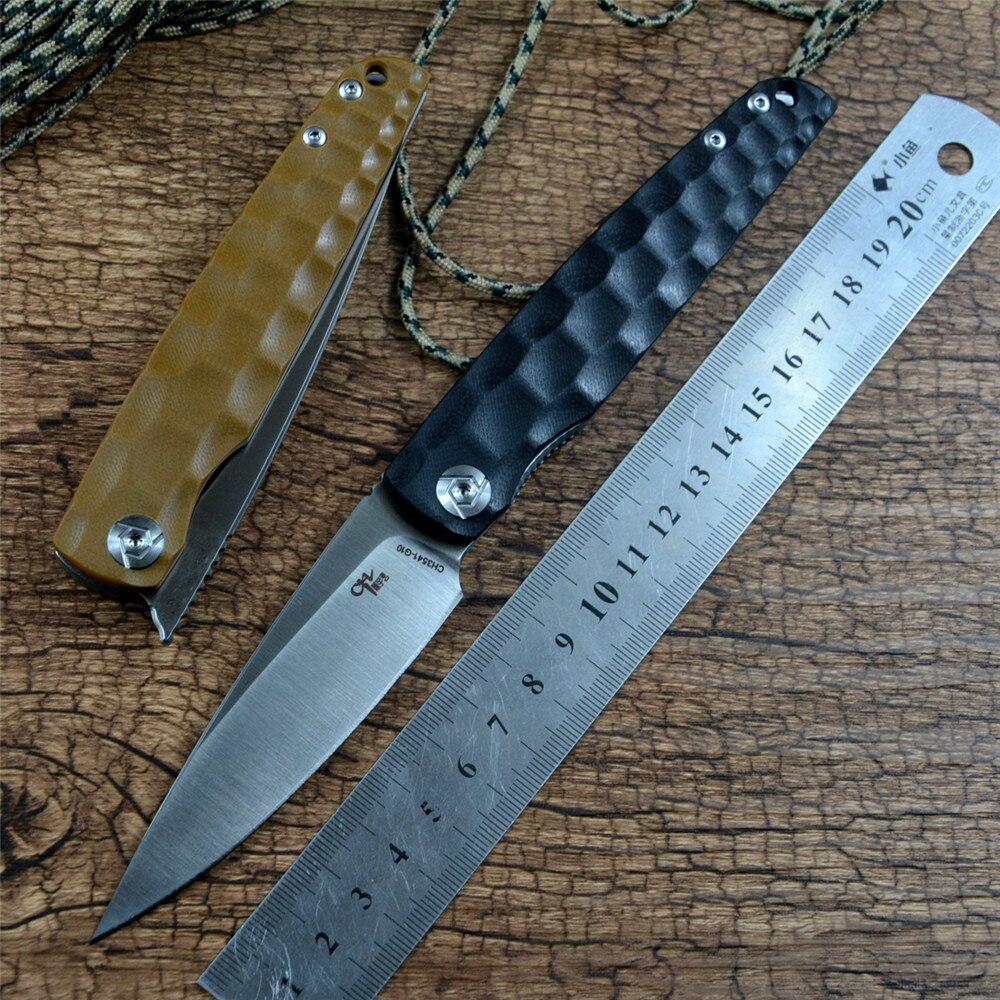 CH3541G10 الزعنفة D2 الساتان شفرة G10 مقبض فائدة في الهواء الطلق التخييم الصيد سكين جيب هدية صندوق