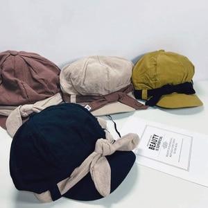 New Cotton Baby Hats Octagonal Retro Bowknot Children Cap For Girl Soft Cute Newsboy Hat Korean Fashion Design