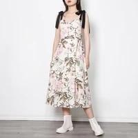women summer sleeveless floral print sling dress fashion big swing skirt loose casual long vest spaghetti strap dresses
