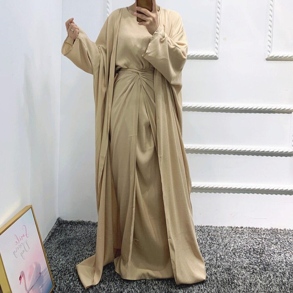 طقم متناسق من 3 قطع فستان نسائي إسلامي من Linene Dubai فستان عربي متواضع كيمونو عادي مفتوح عباية طويلة ملفوفة من الأمام للعيد