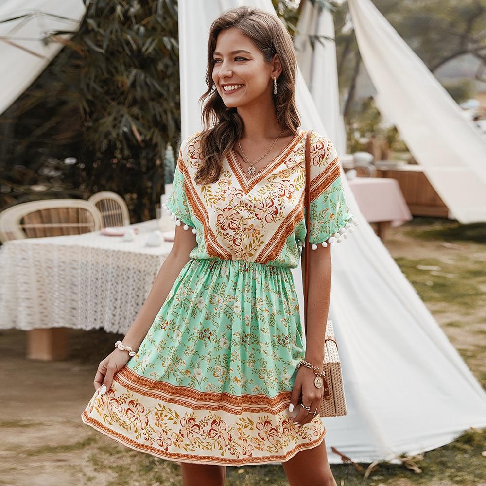 AliExpress - Summer Elegant Ladies Floral Print Dress Women 2021 New A-line Cotton Bohemian V-neck High Waist Short Sleeve Vacation Dress