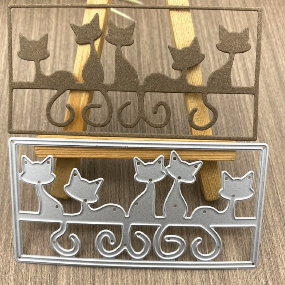 Прямоугольная рамка с изображением животных и кошек, металлические стальные рамки, пресс-формы, «сделай сам», скрапбукинг, фотоальбом, тиснение, бумажные открытки