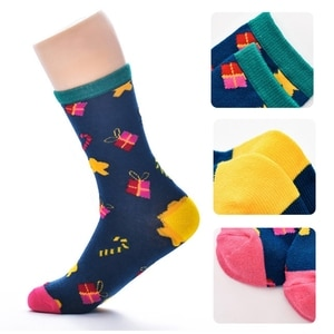 6 Pairs Women Men Christmas Cotton Crew Socks Cute Santa Snowman Deer Contrast Colored Funny Holiday Xmas Stockings Novelty Gift