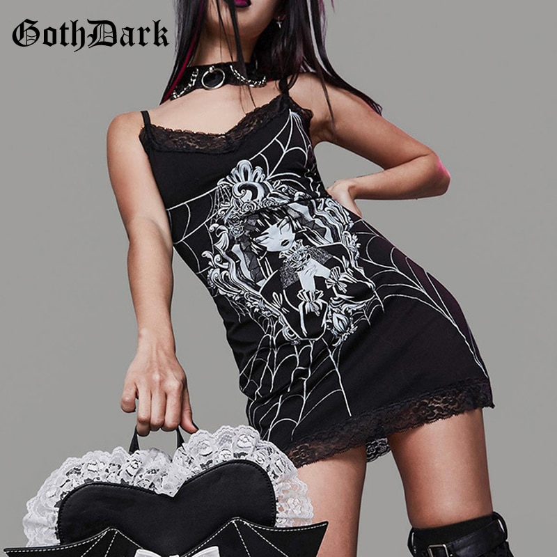 Goth Dark Grunge Aesthetic Mall Goth Summer Dresses Harajuku Bodycon Women Party Mini Dress Lace Witch Print Sexy Gothic Clothes