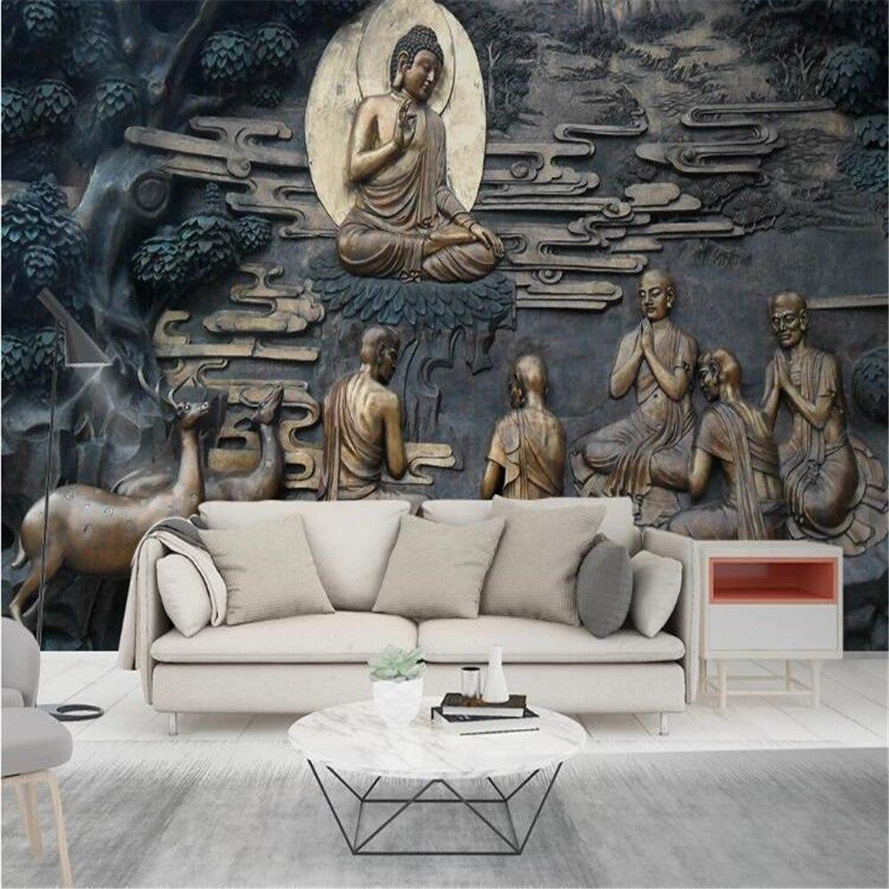 milofi factory custom wallpaper mural 3D three-dimensional relief Buddhist characters TV background wall painting