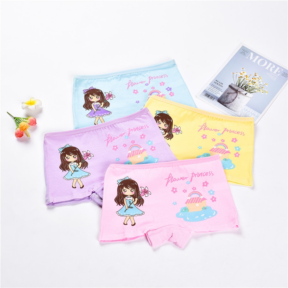 4 Pieces/Lot 2-12Y Children Underwear High Quality Cotton Girls Panties Cute Cat Pattern Kids Boxer