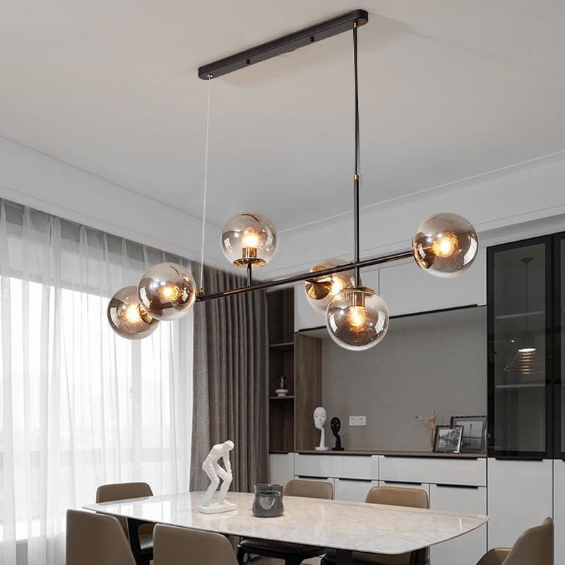 Nordic Lamp Art Strip Glass Pendant Lights Modern Parlor Model Room Glass Bulb LOFT luminaire suspension hanglamp lustre