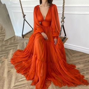 New Long Puff Sleeves Prom Dresses V-Neck Pleats Chiffon Princess Evening Gowns Women Party Dress Plus Size 2021