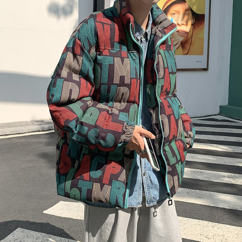 Premium Down Fashion Parka Men Down Jacket Loose Hip Hop Jacket Pattern Zipper Abrigo Largo Hombre Thicken Clothing BD50PS