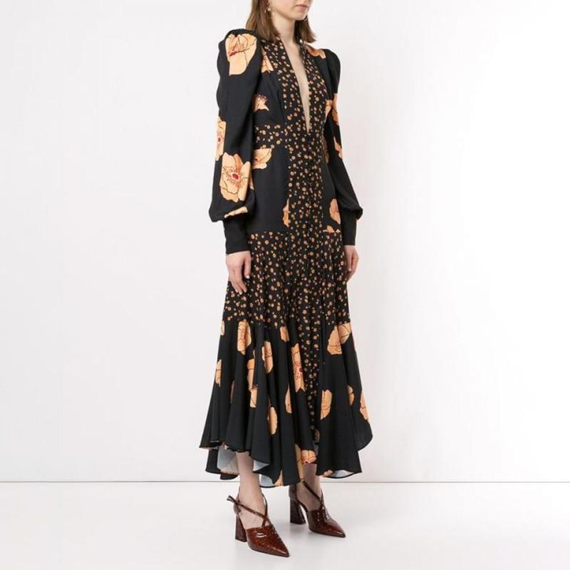 VGH Patchwork Print Dress For Women V Neck Lantern Sleeve High Waist Dresses Female 2019 Autumn Large Size Fashion New