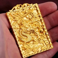 luxuryyellow gold color rectangle dragon pendant for men diy tag longteng four seas pendant wedding birthday fine jewelry gifts