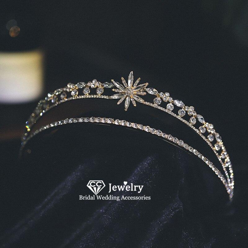 CC-شريط شعر نسائي ، تاج تاج ، إكسسوارات شعر الزفاف ، خوذة فاخرة ، مجوهرات حجر الراين ، AN35 ، DIY