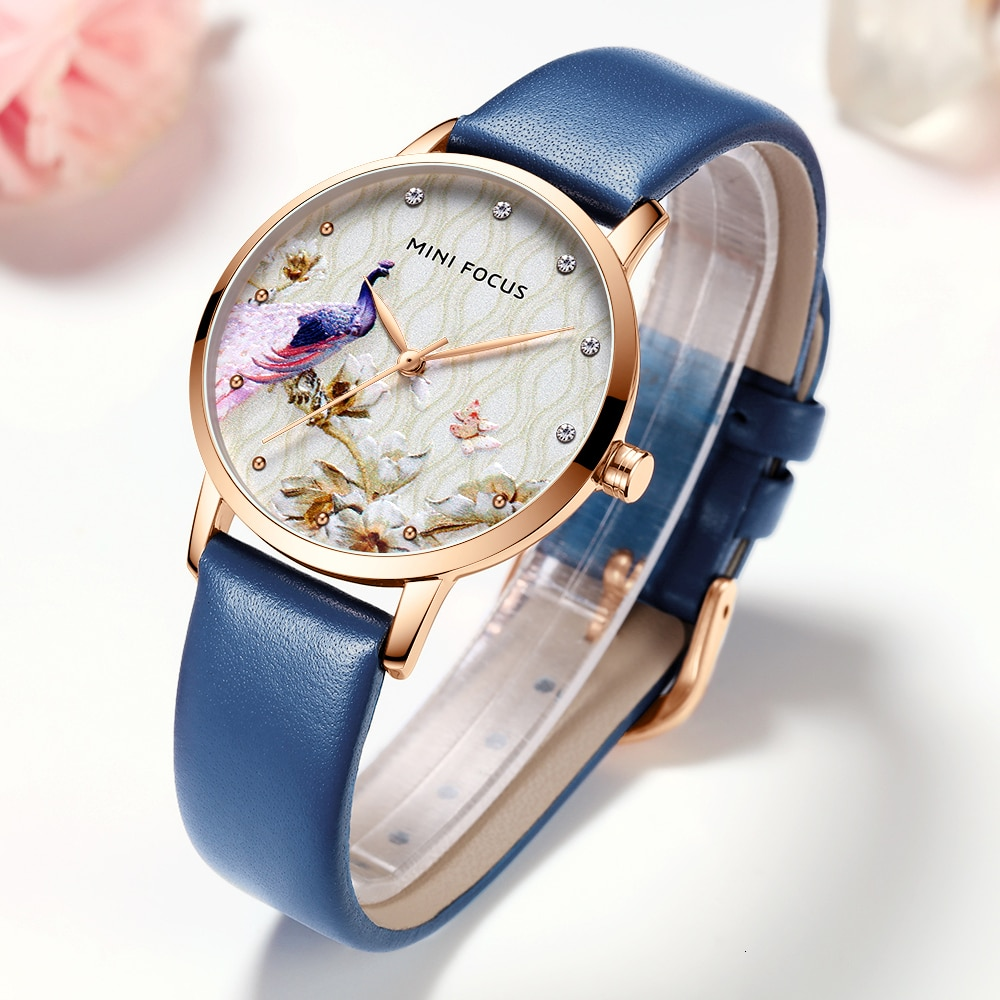 MINI FOCUS Women Watches Waterproof Blue Watch Leather Brand Luxury Fashion Casual Christmas Dress Quartz Womans Watch Ladies