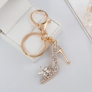 New Creative High Heel Shoes Pendants Keychain Rhinestone Crystal Gold Color Purse Car Key Chain Bag Decorative Keyrings