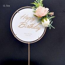 Décoration de gâteau joyeux anniversaire en acrylique   Décoration de mariage en or avec Rose de fleurs artificielles, décorations de fête danniversaire pour enfants