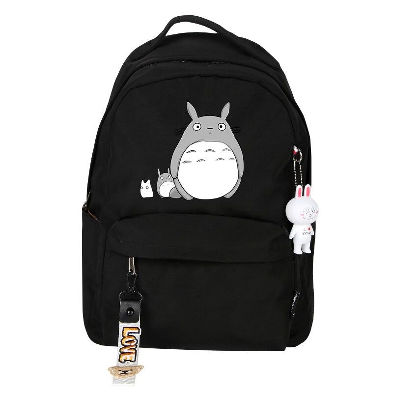 Divertido Totoro mochila Linda suave mujer mochila de dibujos animados mochilas escolares para niños niñas viaje hombro bolsas Preppy estilo mochila