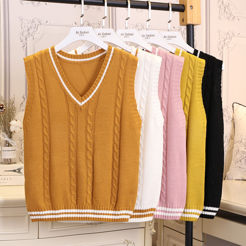 ROENICK Sweaters Vests Women V-neck Striped Knitted Sweater Vest Womens Casual Korean Style Sleeveless Jumpers Fashion Ulzzang