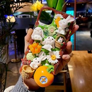 Handmade For Samsung Note20 ultra DIY case A51 Cartoon Rabbit Phone Cover Galaxy s20 FE s8/s9/s10e cream shell note 8/9/10 plus