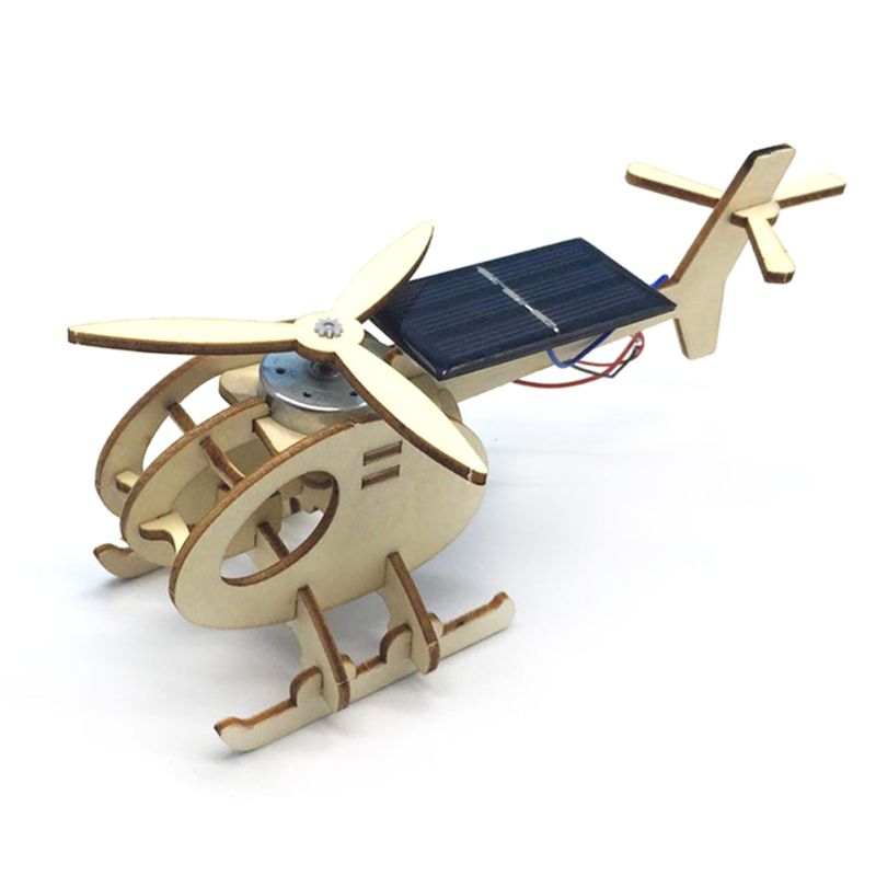 Juego de construcción de madera con rompecabezas de avión de helicóptero con energía Solar para ensamblar en 3D
