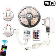 5m 10m 15m RGB LED bande WiFi étanche SMD 5050 2835 lumière LED bande 12V Diode Flexible ruban WiFi Contoller adaptateur Alexa