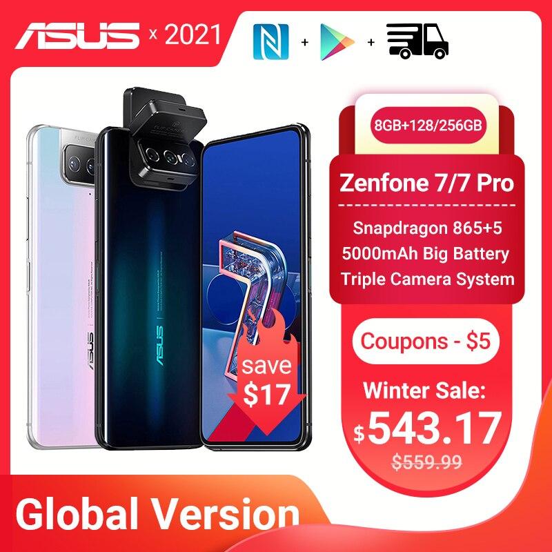 Купить Глобальная версия ASUS Zenfone 7/7 Pro 5G Смартфон Snapdragon 865/865 плюс 8 Гб Оперативная память 128/256 Встроенная память 5000 мАч батарея Android Q 90 Гц NFC