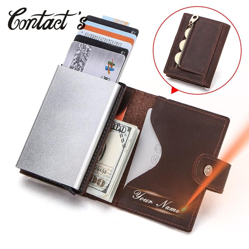 Contact's индивидуальный мужской карт-Холдер, кошелек Визитницы кредитницы Crazy Horse кожаные мужские Мини кошельки Rfid алюминиевая коробка кошелек