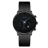 mens fashion watch stainless steel mesh belt calendar quartz sport watches business casual watch for man clock montre homme
