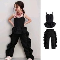 2021 kids toddler children trouser suit vest falbala pants 3 8 years girls party clothing solid cotton fashion comfortable gift