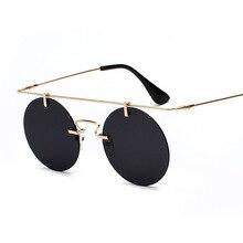 Retro Classic Round Steampunk Sunglasses Men and Women Brand Designer Rimless Fashion Glasses Top Qu