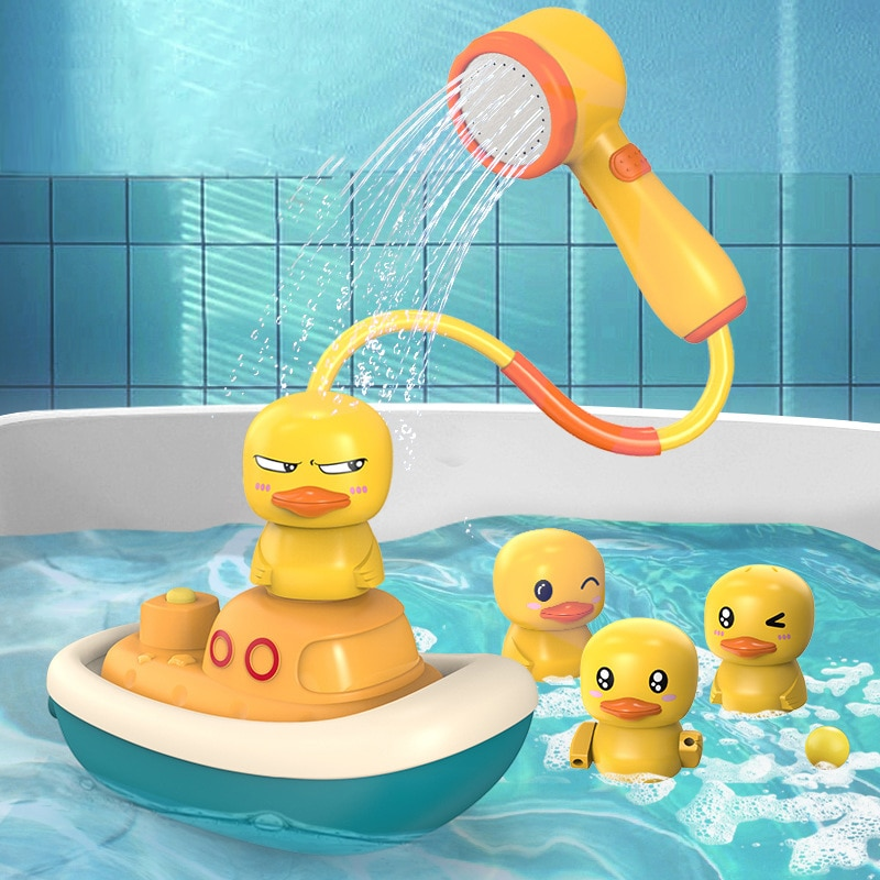 Baby Bath Toys Electric Duck Floating Water Spray Shower Game Bathroom Bathtub Faucet Sprinkler Toy For Children Kids Swimming