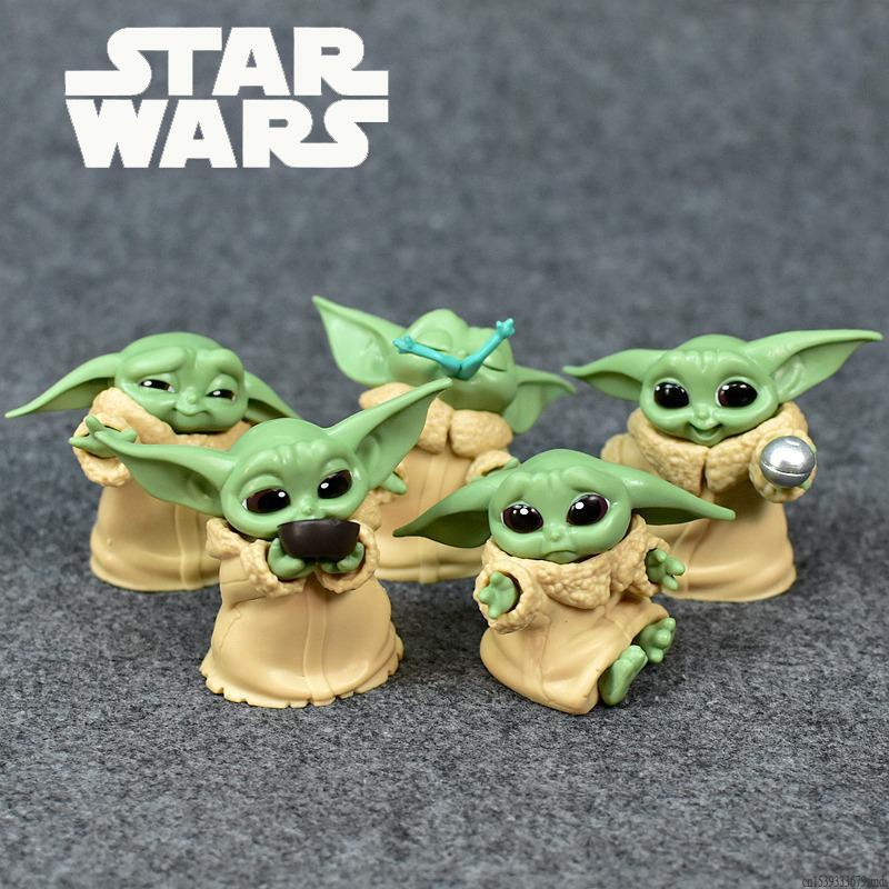 5pcs/set Baby Yoda Grogu Mandalorian Action Figure Toys 4-7cm Yoda Baby Action Toys Star Wars Figuras Hot Kids Toys Xmas Gifts