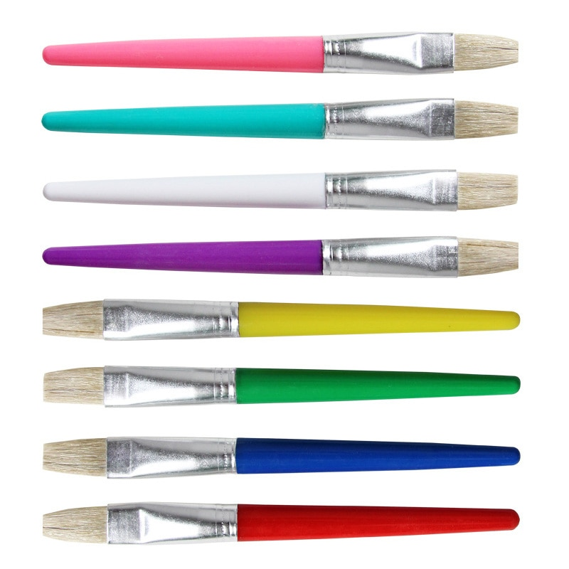 Pincel de pintura a óleo para crianças pintura em aquarela doces cor 4 pcs gouache desenho arte fornecimento plástico handel bristel escovas