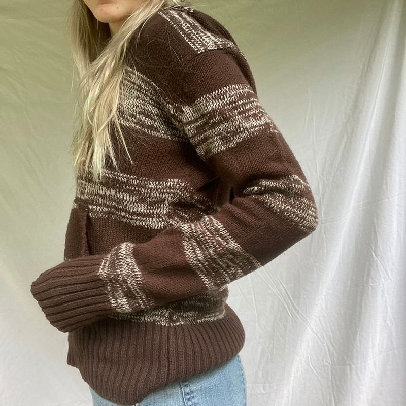 Striped Pockets Hooded Sweater Women Loose Brown Knitted Hoodie Jumpers Retro Korean Style Knitwear Casual V Neck Sweater enlarge