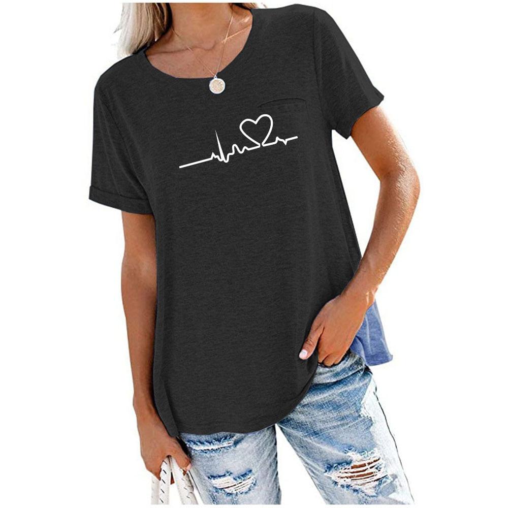Женские футболки 6 цветов, топы, круглый вырез, карманы, однотонные свободные футболки с коротким рукавом