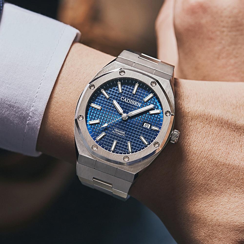 CADISEN Design Brand Luxury Men Watches Mechanical Automatic Blue Watch Men 100M Waterproof Casual Business luminous Wristwatch enlarge
