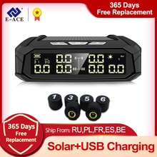 E-ACE K11 Car TPMS Tyre Pressure Monitoring System Solar Power Digital LCD Display Auto Security Ala