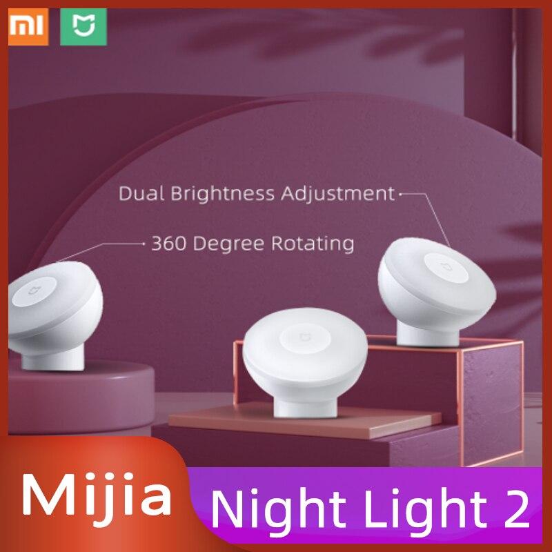 Rotação do Sensor Xiaomi Mijia Night Light Versão Bluetooth Led Indução Casa Inteligente Brilho Ajustável 360 Corpo Humano 2