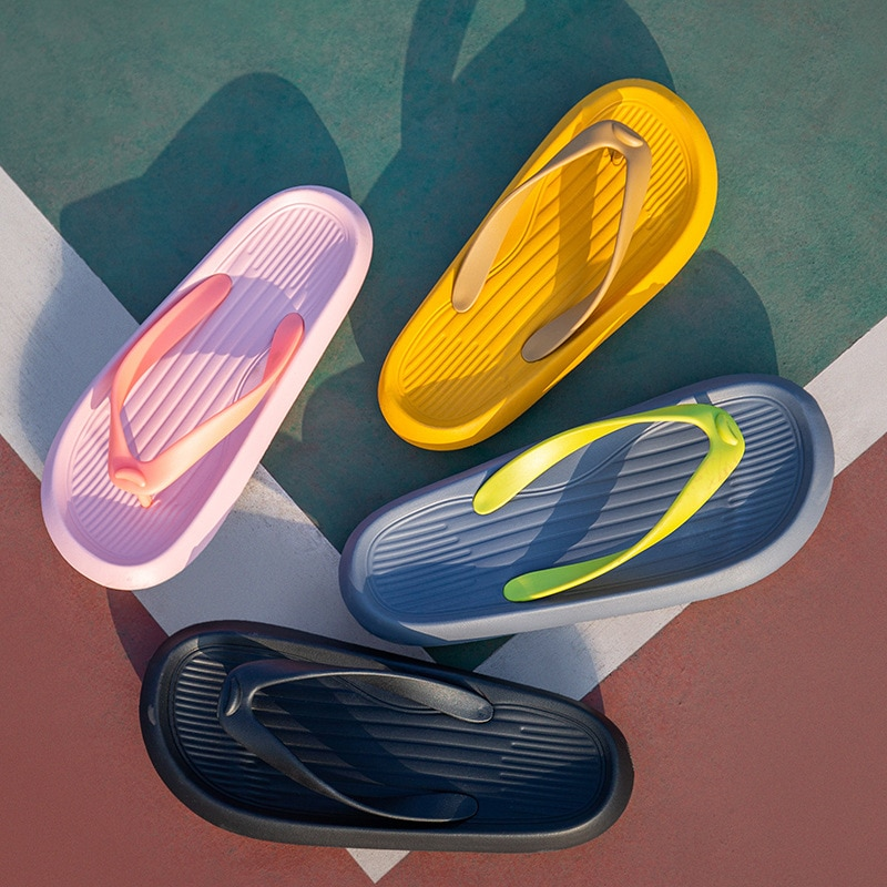 new arrival women summer sandals slippers leisure soft flip flops striped round toe casual shoes high quality beach slippers s Summer Slippers Women and Man Casual Massage Durable Flip Flops Beach Sandals Shoes Striped Lady Room Slippers