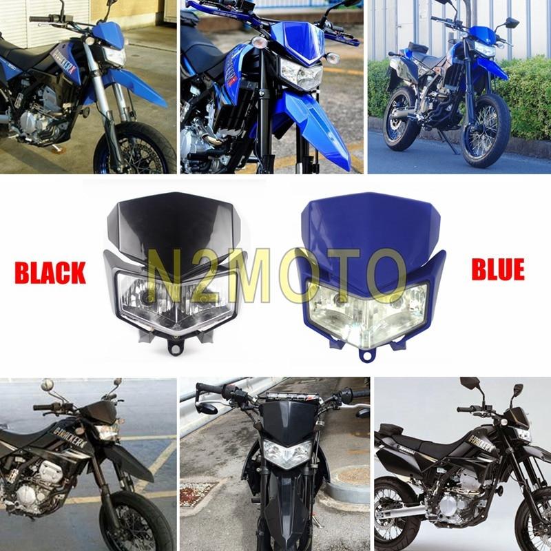 Faro azul negro carenado para Kawasaki KLX250 KLX250S d-tracker X 250 KLX250SF Dirt Bike Motocross Supermoto doble lámpara delantera
