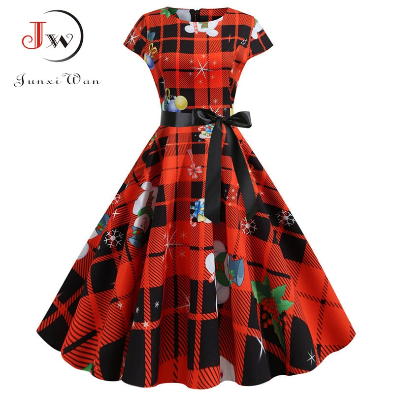 Plus size vermelho xadrez impressão elegante festa de natal do vintage vestido 2020 feminino inverno manga curta casual pin up midi jurk robe